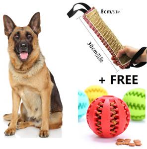 Dog Tug Bite Pillow Jute Bite Chewing Fetch Interactive Toy + Free Feeding Ball