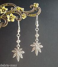 Vintage Silvertone Cannabis Leaf & Bead Dangly Earrings