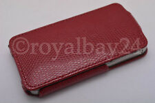 iPhone 4/4S Vegan croco-tasche cuir de serpent bordeaux étui Rabattable Sac