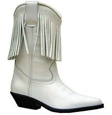 Señoras de cuero blanco Botas margen occidental Cowboy Cowgirl Borla línea de arranque de baile