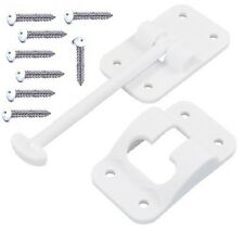 RV 3.5 in white plastic T style door holder catch w screws JR products 10414