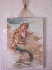 """Vintage Little Mermaid Postcard Plaque Picture Shabby  5"""" x 7"""""""
