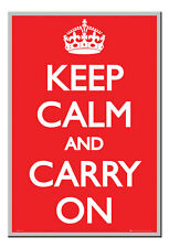 Keep Calm And Carry On Poster Silver Framed Ready To Hang Frame Free P&P