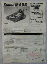 NIKKO VTG SOUND MARS 1/14 R/C # 14474 OWNER'S MANUAL INSTRUCTIONS