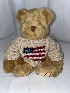 "Russ Berrie & Co Teddy Bear Yankee Doodle 15"" W/ Knit Sweater American Flag"