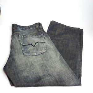 Guess Slim Straight Leg Jeans Mens Size 36 X 30 Classic Dark Distressed Wash
