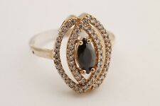 Turkish Jewelry Marquise Cut Black Onyx Topaz 925 Sterling Silver Ring Size 7