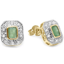 Natural Emerald & 20 Diamond 9ct 9K 375 Solid Gold Stud Earrings Bravo Jewellery