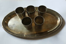 Vintage Silver Plated floreat Alpacca Tray + 5 cups