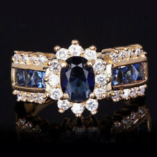 Gold Filled Blue Cubic Zirconia White Crystal Cocktail Dress Ring Size 9