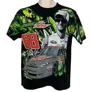 Dale Earnhardt Jr NASCAR All Over Print T Shirt Size L Mt Dew National Guard