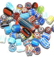 G2452f Assorted Color Handmade Mixed Shape 4mm - 12mm Chevron Glass Beads 50/pkg