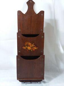 Vintage Wooden hanging key & letter holder Retro decor kitchen brown