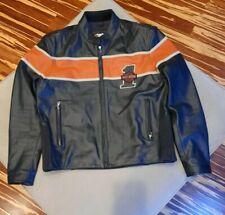 Harley Davidson Men's Large Leather Racing Jacket Victory Lane #1 Orange Black