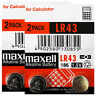 4 x Maxell Alkaline LR43 186 batteries * 1.5V 1176A AG12 Calculator Pack of 2 *