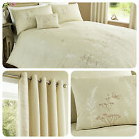 Serene CLAUDIA Natural Beige Flora Duvet Cover Set Bedding Quilt & Cushions