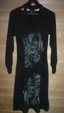 LEGATTE/SAVE THE QUEEN STRETCH LONG SLEEVE  BLACK PATTERNED DRESS SZ 2 USA 8
