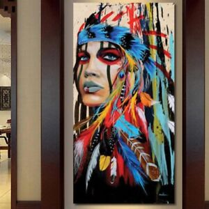 Canvas Oil Painting Wall Hanging Art Picture Abstract Indian Decoration Tapestry