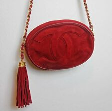 RARE CHANEL VINTAGE Red Oval Tassel Bag Gold HW