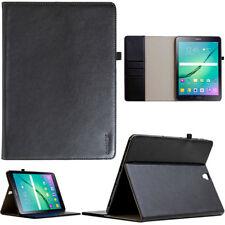 """Leder Schutzhülle f. Samsung Tab S3 9,7"""" Tablet Tasche Cover Case schwarz +Folie"""