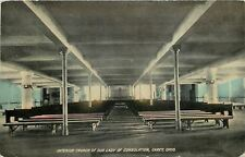 Carey Ohio~Pews & Benches for Overflow~Interior of Our Lady Church~1912 Postcard
