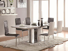 Modern Dining Room Set - Glossy White & Black 7pcs Rectangular Table Chairs IN7A