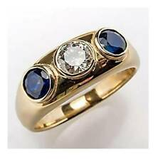 6Ct Round Cut Blue Sapphire Simulant Diamond 3 Stone Ring Yellow Gold Fns Silver