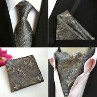 Men Dark Gray Paisley Floral Silk Tie Cravat Ascot Hanky Pocket Square Set Lot