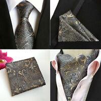 Men Dark Gray Paisley Floral Silk Tie Cravat Ascot Hanky Pocket Square Set Lot
