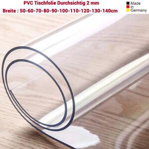 Transparent Tischfolie Klar Abwaschbar Tischdecke Tischschutz Tischmatte 2mm PVC