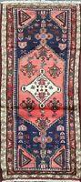 Vintage Geometric Hamedan Runner Rug Wool Oriental Traditional Hand-Knotted 2x5