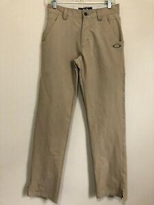 🔥 Oakley Men's Flat Front Golf Pants 28x32 Beige EUC Stretch 🔥