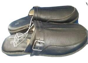Women BLACK MULE Sandal Shoe with Buckle Faux Leather - Size 6