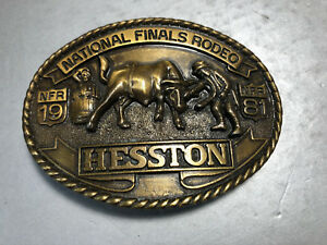 1981 Hesston Cowboy Rodeo Western Clown Brass Belt Buckle Limited Edition