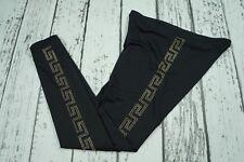 USED Versace For H&M Black Monogram Logo Embellished Leggings EUR 40 US 10