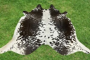 Cowhide Rugs Tricolor Brown Real Cow Hide Hair on Skin Leather Area Rug 5.5 x 5