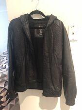 Stussy Vintage Style Leather Jacket With Hood