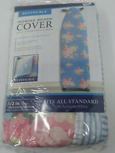 English Rose Cotton Ironing Board Pad & Cover in Light Blue - New & Sealed