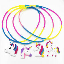 Charm Rainbow Unicorn Animal Pendant Necklace Silicone Chain Jewelry Xmas Gifts