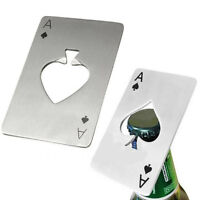 Bar Tool Bottle Soda Beer Cap Opener Wine Playing Card Ace of Spades Poker IK