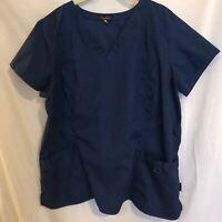 Peaches Womens Scrubs Top Navy Blue Plus Size 2XL