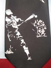 Mens Necktie Baseball Players Hitting Ball Catching Ball & Sliding To A Base (O)