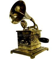 Antique Heavy Brass Quality Home Décor Hmv Showpiece Gramophone Phonograph BG 05