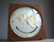 Vintage 1970s Mid Century Modern German KIENZLE Mahogany Desk Clock World Time