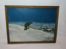 Antique Lone Wolf Print Framed Glass Picture ~ COLUMBIAN COLORTYPE CO CHICAGO
