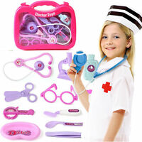 13Pcs Kids Childrens Doctor Nurse Role Play Toys Medical Set Kit Carry Case S166