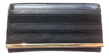 DESIGNER Womens Faux Leather Black Fashion Purse Gold Bar and Patent Stripes