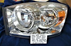 2007-2008 DODGE RAM 1500 2500 3500 Left OEM Headlight with Chrome Trim  Like New