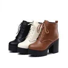 Ladies Women Combat Military Ankle Boots Chunky Heels Lace up Zip Platform Shoes