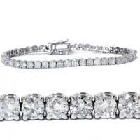 9 CTW E VS1 GENUINE DIAMONDS ROUND BRILLIANT CUT TENNIS BRACELET 18K WHITE GOLD